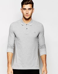 United Colors Of Benetton Long Sleeve Pique Polo In Slim Fit Lightgrymarl501