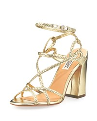 Badgley Mischka Cydney Braided Leather Sandal Platino