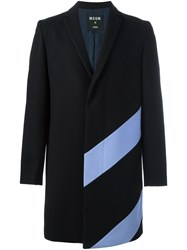 Msgm Contrast Detail Mid Length Coat Black