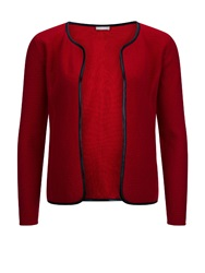 Planet Leatherette Trim Cardi Red