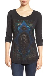 Lucky Brand Women's Watercolor Rug Print Tee