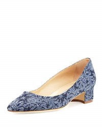 Manolo Blahnik Listony Floral Denim Block Heel Pump Blue
