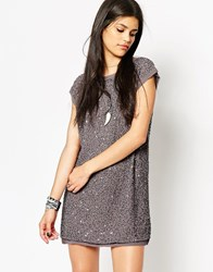 Rock And Religion All Over Embellished Tunic Dress Grey