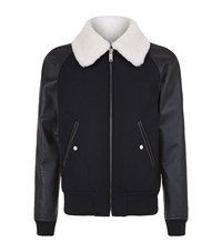 Sandro Shearling Collar Bomber Jacket Male Blue