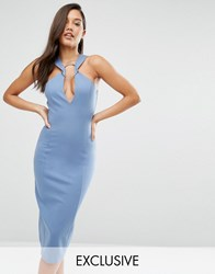 Lavish Alice Metal Ring Plunge Detail Midi Dress Petrol Blue