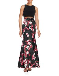 Xscape Evenings Cropped Top And Floral Maxi Skirt Set Black Multi