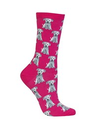Hot Sox Dog Graphic Socks Bright Pink