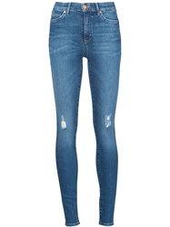 Mih Jeans Distressed Skinny Jeans Blue