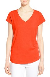 Women's Eileen Fisher Organic Cotton V Neck Short Sleeve Tee Sandstone