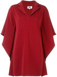 Maison Martin Margiela Mm6 Cape Sleeves Dress Red
