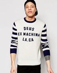 Deus Ex Machina Knitted Sweatshirt With Contrast Sleeve Natural Navy