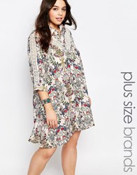 Alice And You Longline Lace Insert Folk Shirt Dress Multi