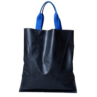London Edit Navy Leather Tote Web Handle Blue