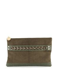 Neiman Marcus Croc Embossed Faux Leather And Faux Suede Clutch Bag Hunter