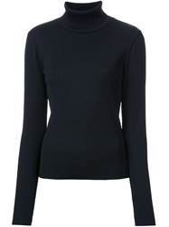 G.V.G.V. Ribbed Turtleneck Blouse Black