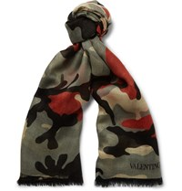 Valentino Camouflage Print Cashmere Silk And Wool Blend Scarf Green