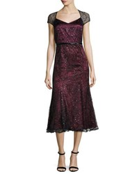 Brianna Beaded Embroidered Cap Sleeve Tea Length Dress Wine