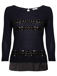 Marella Sestri Sequin Detail Top Navy