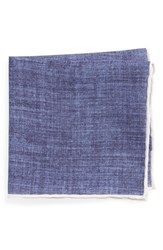 Men's Todd Snyder White Label Linen Pocket Square Blue Ice Blue