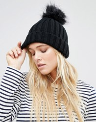 Warehouse Faux Fur Pom Ribbed Hat Black