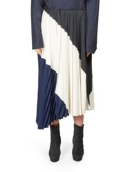 Cedric Charlier Asymmetrical Pleated Skirt Navy White