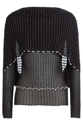 Roland Mouret Sheer Knit Top With Cape Black