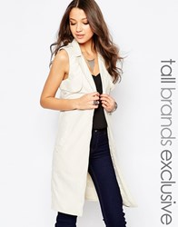 Noisy May Tall Longline Sleeveless Trench Coat Cream