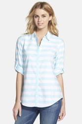 Foxcroft Stripe Oxford Cotton Shirt Regular And Petite Green