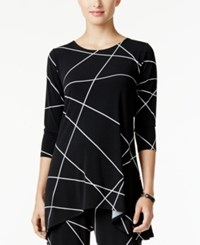Alfani Printed Jersey Swing Top Only At Macy's Layered Lines Black