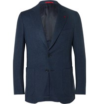 Isaia Navy Slim Fit Herringbone Wool And Cashmere Blend Blazer Blue