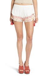Band Of Gypsies Women's Embroidered Shorts Ivory Coral