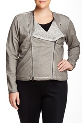 Mynt 1792 Valerie Knit Moto Jacket Plus Size Gray