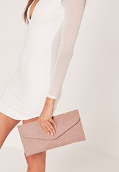 Missguided Faux Suede Minimal Envelope Clutch Bag Brown Taupe