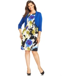 Jessica Howard Plus Size Floral Print Sheath And Cardigan Royal