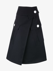 Marni Virgin Wool A Line Skirt Navy White Denim