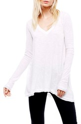 Free People Women's 'Anna' Burnout High Low Tee White
