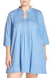 Plus Size Women's Dkny Pleated Pima Cotton Sleep Shirt Chambray Heather