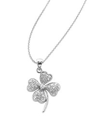 Lord And Taylor Sterling Silver Cubic Zirconia Pave Clover Pendant Necklace