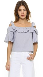 Shakuhachi Bow Frill Off Shoulder Top Stripe