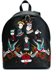 Love Moschino Tattoo Patch Backpack Black
