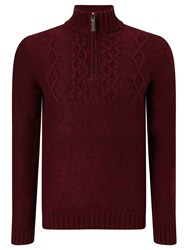 John Lewis Frosty Cable Zip Neck Jumper Red
