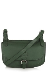 Topshop Leather Satchel Dark Green