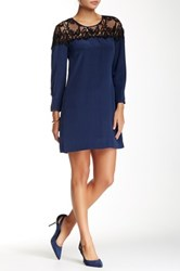 Madison Marcus Lace Yoke Silk Shift Dress Blue