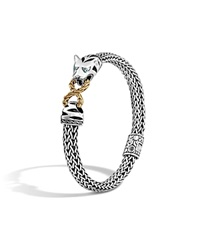John Hardy Classic Chain 18K Gold And Sterling Silver Small Macan Bracelet With Swiss Blue Topaz Eyes