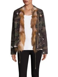 Jocelyn Two In One Cotton Camo Military Jacket And Fox Fur Vest Green Camo