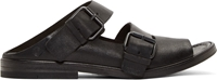 Marsell Black Grained Leather Buckled Strap Sandals