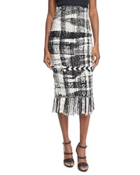 Oscar De La Renta Blanket Knit Plaid Pencil Skirt Camel Black