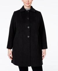 Anne Klein Plus Size Wool Cashmere Single Breasted Walker Coat Only At Macy's Charcoal