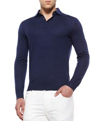 Isaia Long Sleeve Cashmere Polo Sweater Navy