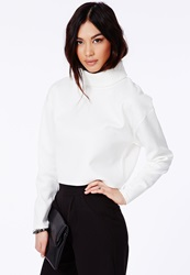 Missguided White White Roll Neck Top In Scuba